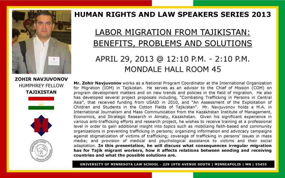 April 29 - LABOR MIGRATION FROM TAJIKISTAN: BENEFITS, PROBLEMS AND SOLUTIONS